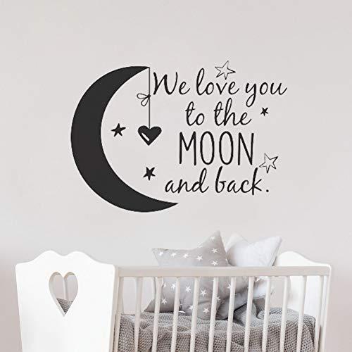 h zum Mond und zurück Wandtattoo Kinderzimmer Zitate Mond und Sterne Wandaufkleber Kinderzimmer Dekor Ideen Kinderzimmer ()