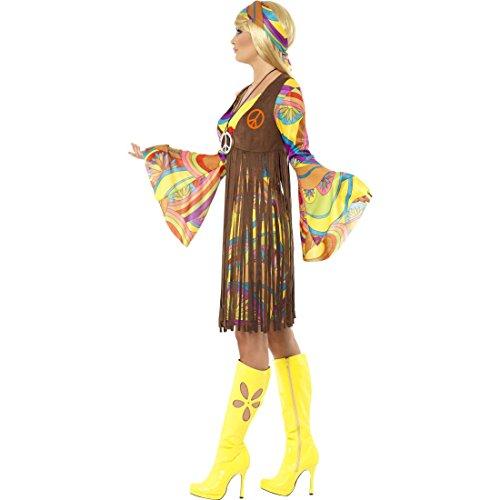 Amakando Buntes Hippie Outfit neon Weste mit Fransen M 40/42 60er Jahre Kostüm Kleid mit Glockenärmeln 70er Jahre Hippiekleid Karnevalskostüm Damen Blumenkind Peace and Love Stirnband 70s Look