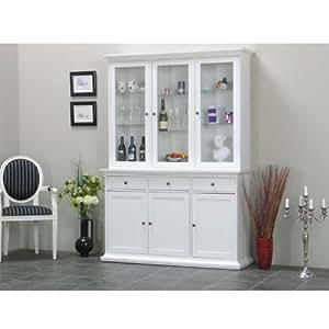 vitrinenschrank paris glas vitrine aufsatzbuffet buffet landhaus wei k che haushalt. Black Bedroom Furniture Sets. Home Design Ideas