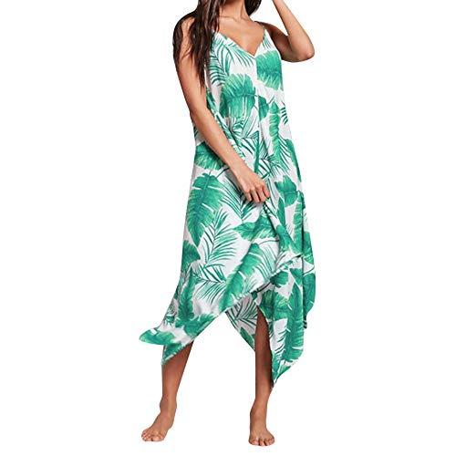 Sommerkleid Dame,Freizeitkleider für Damen,VRTYOC V-Ausschnitt Sling Kleid Zurück öffnen Blatt drucken Unregelmäßiges Kleid Lose Strandkleid Chiffon Maxikleid (Lose Blatt Kostüm)