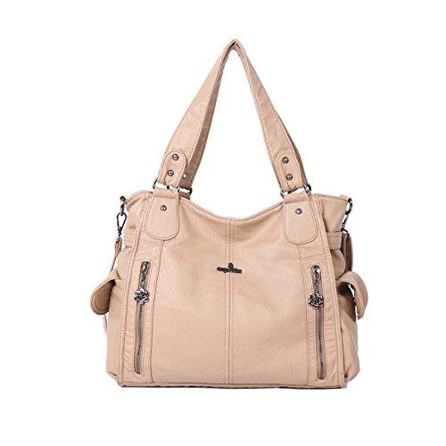 Angelkiss 2 zip più alte tasche borse donna / tasche in lana lavata / borse a tracolla 1193 Albicocca
