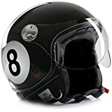 "'Casco de Moto Casco Jet Chopper Cafe Racer cmx ""Eight Ball 8ball Negro"