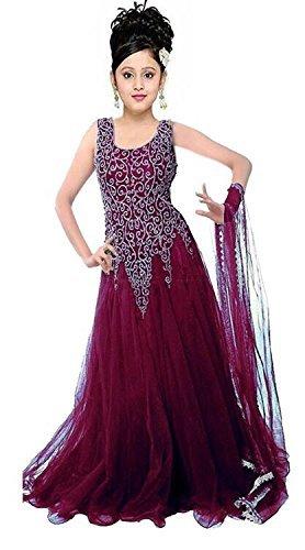Myozz Kids Girl's Birthday Party Wear Semi Stitched Salwar Suit Gown Lehenga...