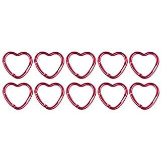 munkees 10 x Karabiner klein I Schlüsselanhänger I Mini I Schlüsselband I Schlüsselring IHerz, 10er Pack Rot, 32210