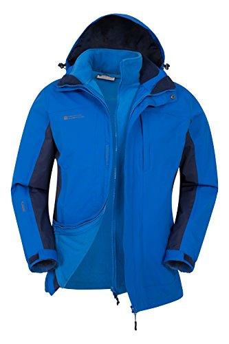 Mountain Warehouse Thunderstorm Mens 3 in 1 Jacket - Breathable All Season Coat, Waterproof Rain Coat, Taped Seams, Detachable Inner Fleece Casual Jacket - For Travelling