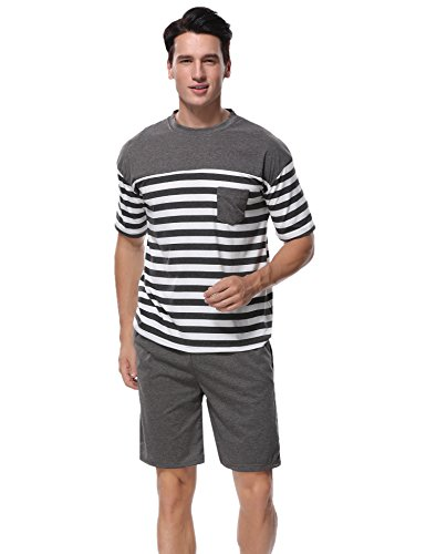 Aiboria Herren Schlafanzug Pyjama Baumwolle Gestreift Kurz Freizeithosen Jerseyhose Schlafanzughose Set Pant Zweiteiliger Kurze-set