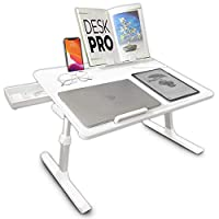 Cooper Desk PRO [XL Adjustable Folding Laptop Desk] - Height & Tilt Angle   Leather Top for Work, Study, Bed   Reading Stand, Drawer (Pearl White)