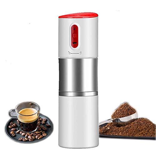 DLYGH Mini Kaffeemaschine Tragbare Kaffeemaschine, Auto Kaffeemühle mit Percolator und Becher, tragbare elektrische Kaffeemaschine, aufladbar (Farbe: Schwarz) (Color : White)