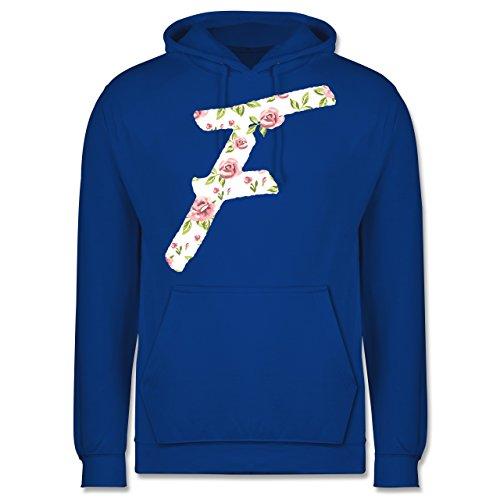 Anfangsbuchstaben - F Rosen - Männer Premium Kapuzenpullover / Hoodie Royalblau