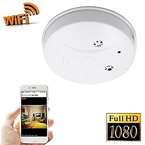 NiceSky 1080P HD P2P WiFi Hidden Camera Smoke Detector Nanny Spy Cam With 90° Wide View Angle and Motion Detection for Home Security & Surveillance Free Apps for iOS Android, PC and Mac