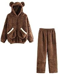 Conjunto de pijamas de lana para mujer, LILICAT® Sudadera con capucha de dibujos animados Cálido Blusa Tops + Pantalones largos, Set de ropa de dormir de moda de 2 piezas (S, Marrón)