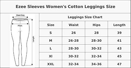 Ezee Sleeves Women's Cotton Leggings Combo Set of 4 | Legging for Women | Legging Combo Set | Cotton Leggings (Skin, Black, Red & White).