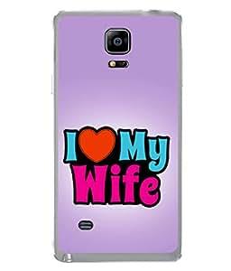 PrintVisa Designer Back Case Cover for Samsung Galaxy Note 4 :: Samsung Galaxy Note 4 N910G :: Samsung Galaxy Note 4 N910F N910K/N910L/N910S N910C N910Fd N910Fq N910H N910G N910U N910W8 (Pink Orange Colours I Love my Wife)