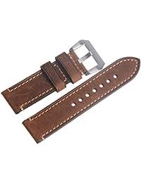 WEONE 24mm Vintage Brown del cuero genuino de la correa de reloj correa de reloj de pulsera de banda con la hebilla plateada
