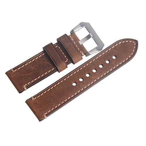 Piel Auténtica Marrón 24mm reloj de pulsera correa de reloj de banda watchband con hebilla Silvery