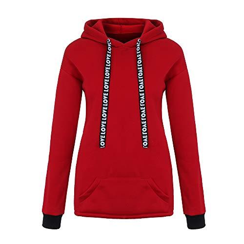 UJUNAOR Frühling Damen Einfarbig Lose Langarm-Sweatshirt mit Kapuze(Rot,CN L)
