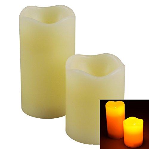 Markenlos LED Echtwachs Kerze Set 2Stk Ø70x90/130mm weiß Timer