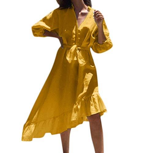 VJGOAL Damen Kleider Sommer Volltonfarbe Mode Laterne mit Sieben Punkten Taste Kleiden Dresses