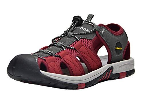 Knixmax Sandal Trekking Wandersandalen Damen Herren rutschfeste Comfort Wanderschuhe Sommer Männer Women Walking Schuhe Sport-& Outdoor Sandalen EU38-(UK 5) Red