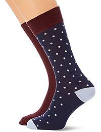 Mens O. Breton Stripe Socks, Red (Mahogany Red), One Size GANT