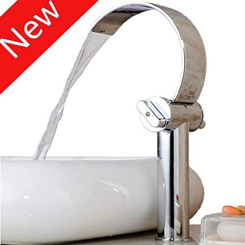 Hiendure Rubinetto per lavandino bagno cascata rubinetto da cucina e bagno cromo di plateada ottone