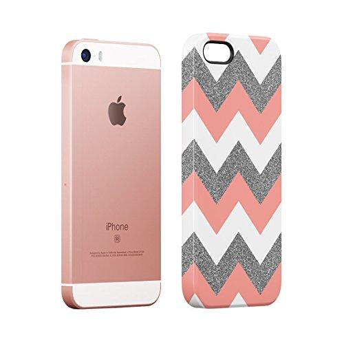 Mint And Coral Pink Chevron Blocks Dünne Rückschale aus Hartplastik für iPhone 5 & iPhone 5s & iPhone SE Handy Hülle Schutzhülle Slim Fit Case cover Coral Pink Chevron