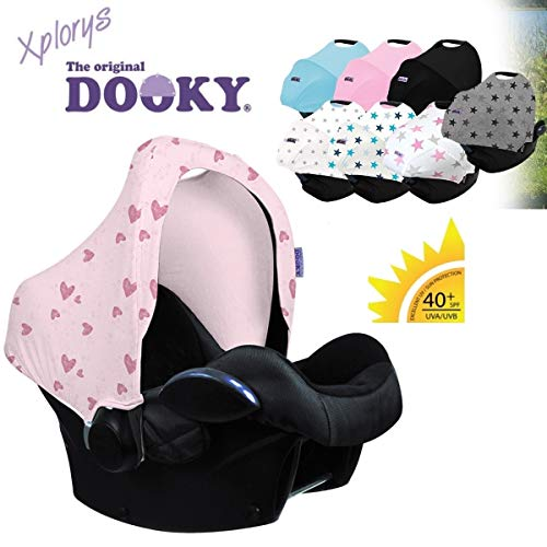 DOOKY HOODY Style UV+ Universal Verdeck für Maxi Cosi Cabrio/CabrioFix/Pebble/Citi, Römer und andere Babyschalen Gruppe 0+ als Sonnenschutz/Sonnenverdeck/RegenSchutz (Pink Heart)