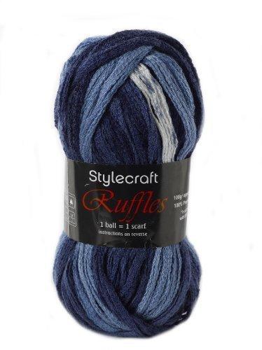 Ruffles Grobe Schal Strickwolle 100g Acryl Craft Garn - Verschiedene kräftige Farben Modefarben - 1 x 100g Rolle, Denim 1696