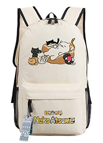 YOYOSHome Anime Atsume Katze Maneki Neko Backyard Cosplay Schultasche Daypack Laptop Rucksack Schule ()