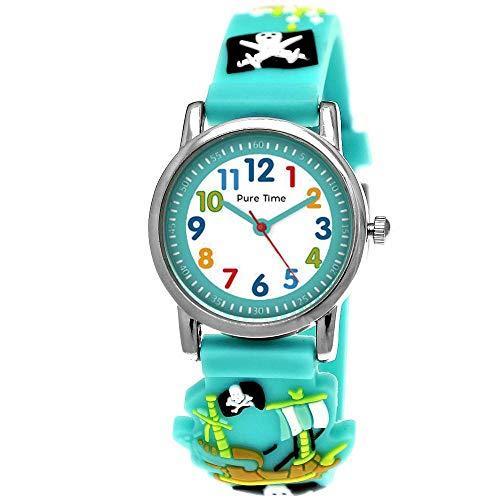 Pure Time® Kinder-Uhr Mädchen-Uhr für Kinder Jungen-Uhr Silikon-Kautschuk Armband-Uhr Uhr mit 3d Piraten Motiv Lern-Uhr Schul-Uhr Sport-Uhr Blau Hell-BLAU Schwarz Rot Grün (Blau.)