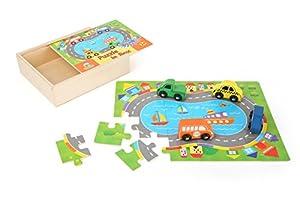 Small Foot 10710Puzzle Caja con 24Piezas de Puzzle Hecho de Madera, Road para puzzleling, Incluyendo Cuatro Coches para Jugar, Debido a la Caja con Cierre es Ideal como un Juego de Viaje