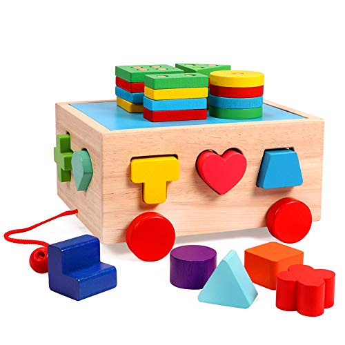 Lewo Wooden Bus Stack Type Classic Trucker Toy Educational Preschool Shape Color Recognition Geometric Toys for Toddlers