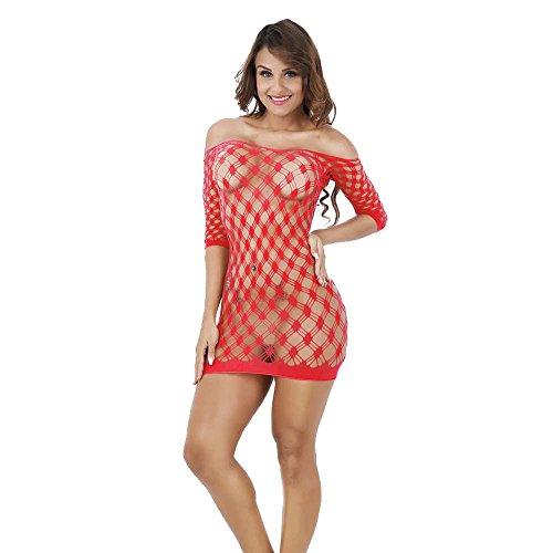 sous-Vêtements Lilicat Femmes Santa Lingerie Noël Rouge Body Halter Dentelle Chemise de Nuit S-2XL Red-6