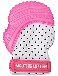 Mouthie Mitten Teething Glove. the Original Mum Invented Teething Toy. Teether Stays on Babys Hand for Pain Relief & Stimulation with Handy Travel/Laundry Bag. Available In 7 Colours