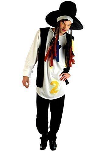 0s Jahre Boy George kulturclub Jahrzehnte Party Promi Kostüm Kleid Outfit - Mehrfarbig, Large (Jahrzehnte Kostüme)