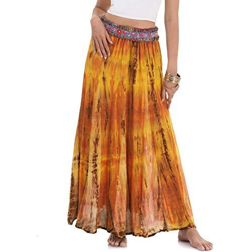 Langer Hippie Batik Gypsy Zigeuner Rock 36 38 40 42 S M (Orange & Ocker) Hippie-batik