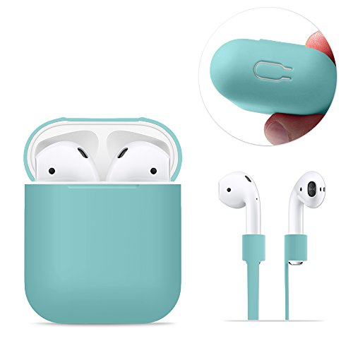 AirPods Case Protective, FRTMA Silicone Skin Case with Sport Strap for Apple AirPods, Ice Sea Blue
