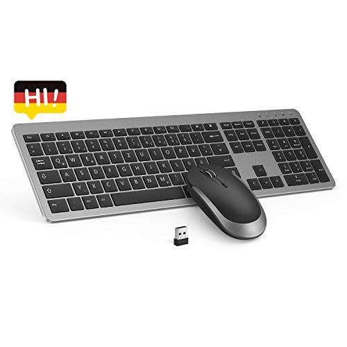 seenda Tastatur und Maus Set Kabellos - Wireless Slim Tastatur QWERTZ Layout (Deutsch) und Maus Combo für Computer/Desktop/PC/Laptop und Windows 10/8/7/Vista/XP - Schwarz & Grau