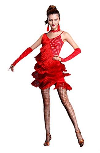 Honeystore 2017 Neuheiten Damen U-Ausschnitt Quasten Swing Rhythmus Jazz Latein Dance Kleid Rot M (Jazz Dance Kostüme 2017)