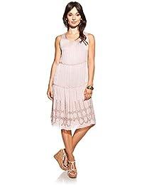 Laura Moretti - Vestido de seda con escote en U, bordados y trenzados