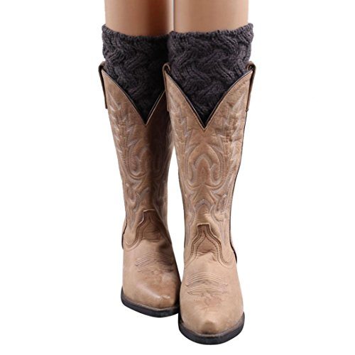TWIFER Winter Frauen kurze Stulpen Absatz grobe Nadel Beinwärmer Socken Boot Cover (Dunkelgrau, 15 cm) (Band-knie-boot)