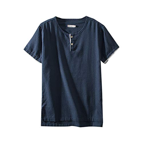 Xmiral T-Shirt Herren Kurzärmlig Knopf Rundkragen Baumwollmischung Shirts Retro Hemde Chinesischer Stil Patchwork Geteilter Saum Tops Bluse (Marine Blau,XL) - Xl Retro Bowling Shirt