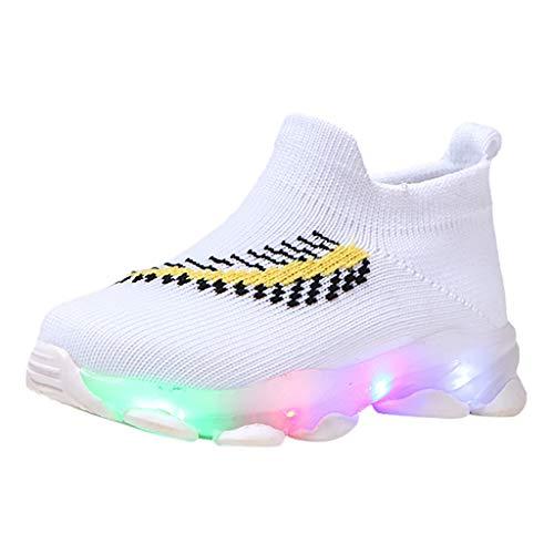 Alwayswin Kinder Freizeitschuhe Baby Mädchen Jungen Mesh Sneakers Socken Schuhe Led Leuchtende Schuhe Outdoor Slip-On Sportschuhe Sport Run Sneakers Atmungsaktive Kinderschuhe