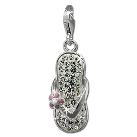 SilberDream Glitter Charm Flip Flop Flower with White Zirconia Crystals 925 Silver Pendant for Bracelet / Necklace / Earring GSC563W