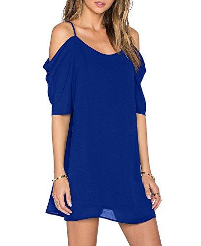 HIMONE Frauen Sommer Plaid Bügel Sundress Strand Beleg Kleid Blau,XL -