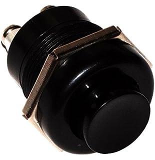 Qiilu Auto Interruttori a pulsante 1A 24V 8mm Mini auto impermeabile pulsante momentaneo interruttore di alimentazione in lega di zinco-alluminio (nero)