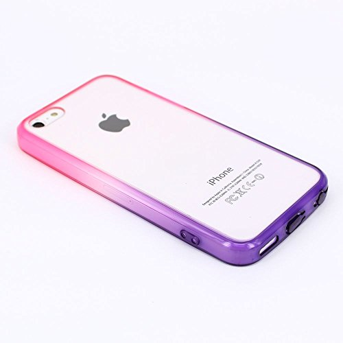 JIAXIUFEN Neue Modelle Red and Purple Gradient TPU Silikon Schutz Handy Hülle Case Tasche Etui Bumper für Apple iPhone 5c Color10