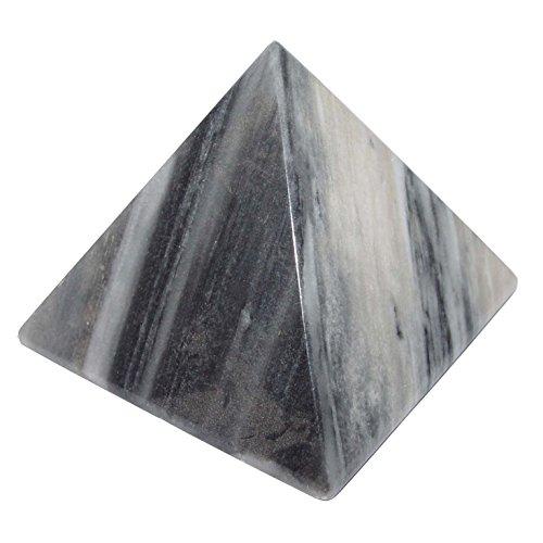 Onyx Marmor Pyramide ca. 70 mm schwarz Sandfarben aus Mexiko.(4159)