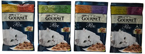 Purina Gourmet Perle Wet Cat Food Mini Fillets in Gravy, 12 x 85 g - Delicate Meats (Pack of 4)