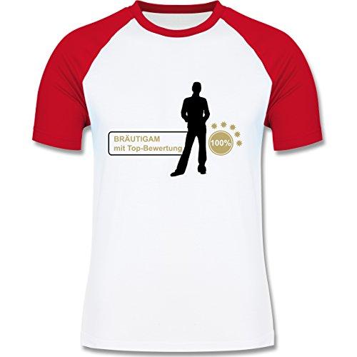 JGA Junggesellenabschied - Bräutigam mit Top Bewertungen - zweifarbiges Baseballshirt für Männer Weiß/Rot